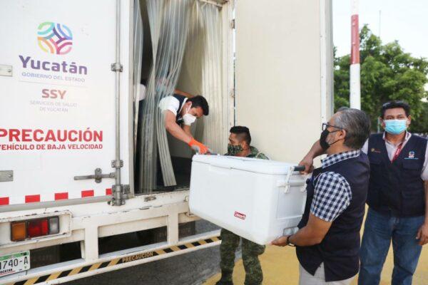 Arriba a Yucatán un cargamento con 135,300 vacunas contra el Coronavirus